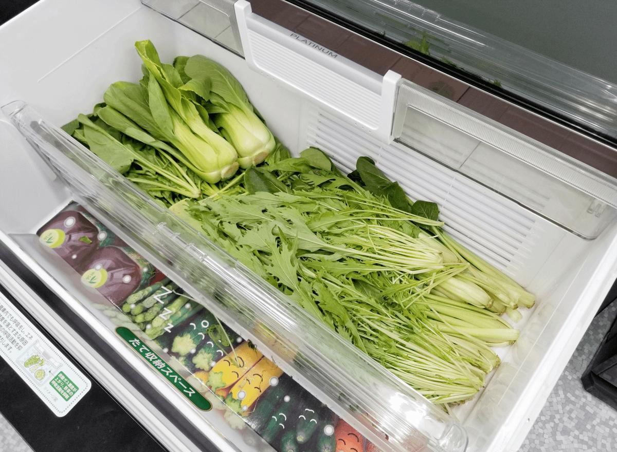 日立 真空チルド冷蔵庫 野菜室で5日間保存した野菜
