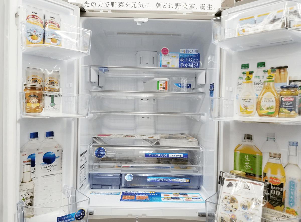 三菱 置けるスマート大容量 冷蔵室庫内