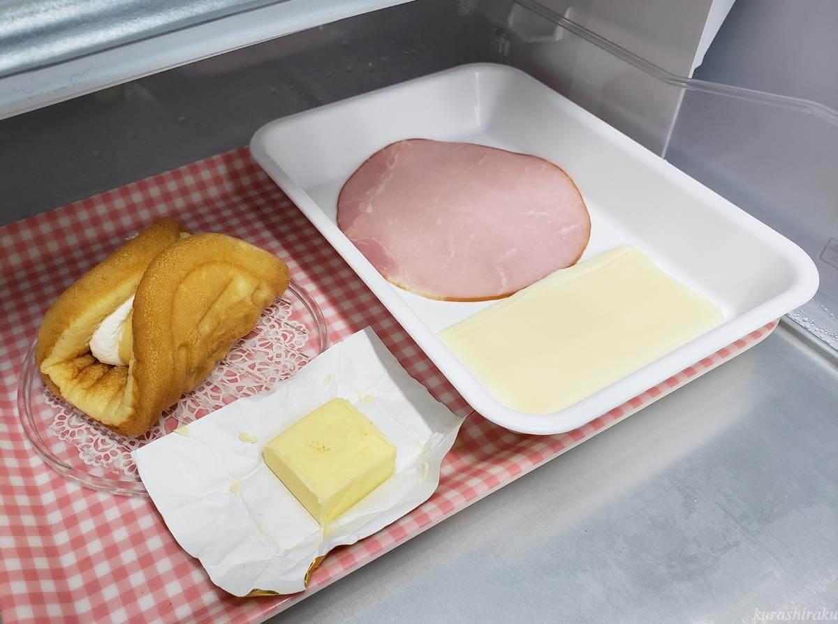 日立 真空チルド冷蔵庫 チルド室で保存したケーキとハム