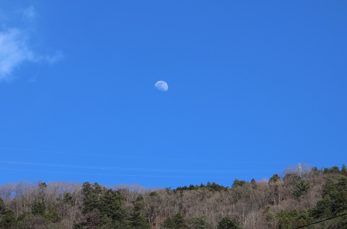 明るい昼間の山に浮かぶ半月