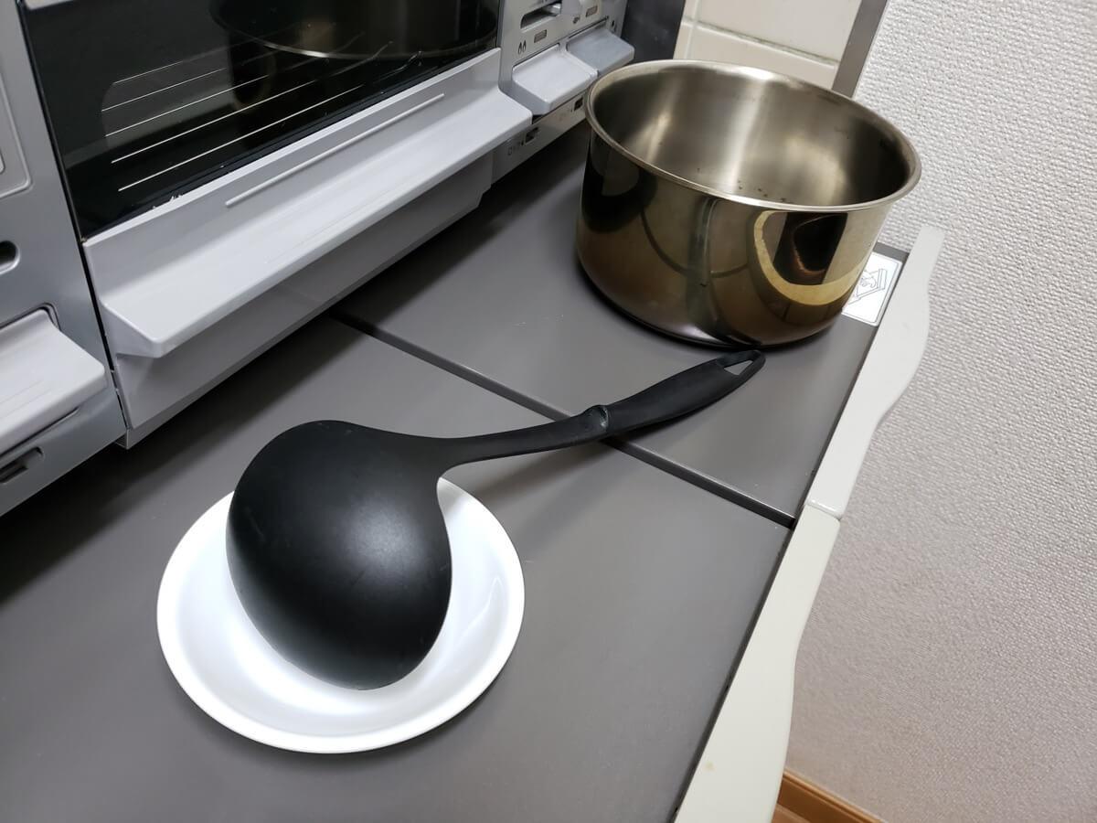 鍋を置いたところ